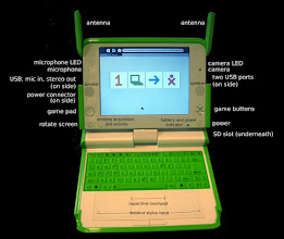Photo: Another picture showing some features of the XO-laptop, especially the stylus input, can be used for writing and finer motorics.