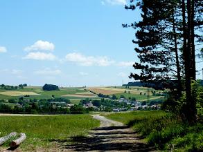 Photo: Nach dem ausgedehnten Kaspermichelwald sehen wir kurz nach Mittag auf Hernstein hinunter.
