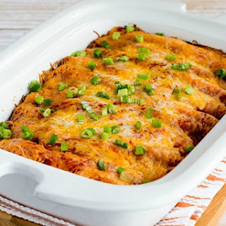 Low-Carb Slow Cooker Sour Cream Chicken Enchiladas.