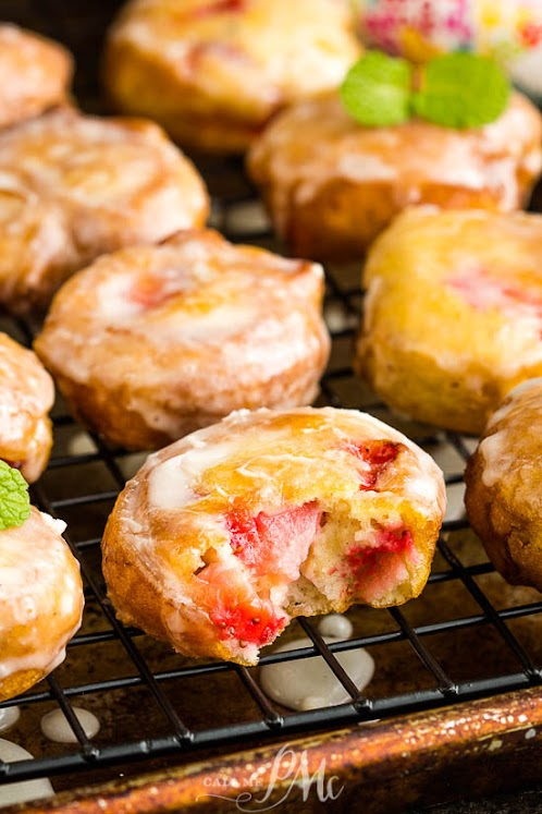 Glazed Strawberry Fritters