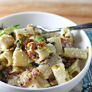 Pasta With Bacon, Brussels, And Ricotta.