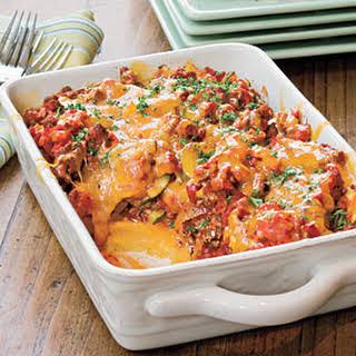 Tomato 'n' Beef Casserole With Polenta Crust.