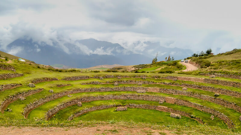 Moray+terraces+archaeological+site+ northwest+Cuzco+west+village+Maras+cuzco+ruins+peru+south+america