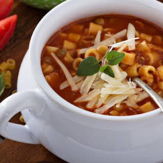 Italian-Inspired Chicken and Corallini Soup.