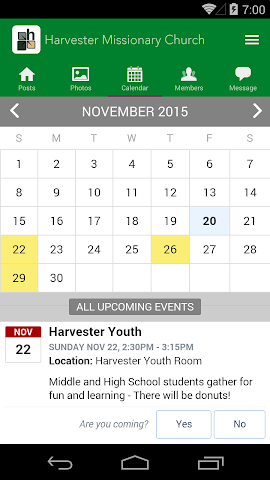 android Harvester Missionary Church Screenshot 2