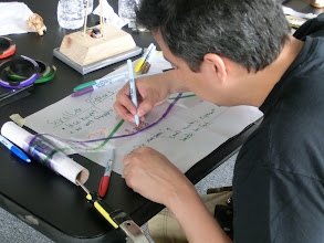 Photo: Luis signs the greets scrollerfor my OHP demo.