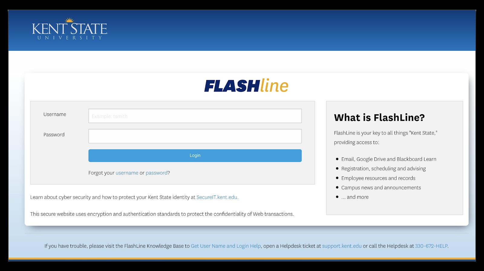 Image of Flashline login page