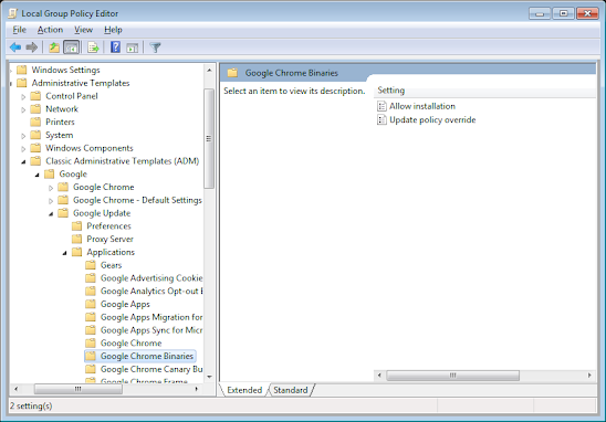 Google Chrome Administrative Template  group policy push of chrome