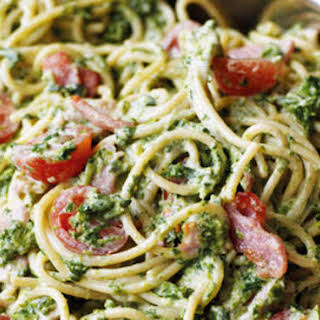 Creamy Bacon And Spinach Pasta.