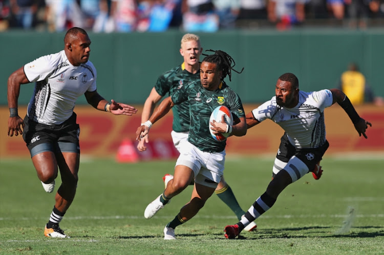 Rosko Specman of South Africa during the third place playoff match between South Africa and Fiji on day 3 of the Rugby World Cup Sevens 2018 at AT&T Park on July 22, 2018 in San Francisco, United States of America.