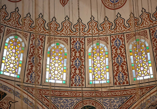 Blue-Mosque-stained-glass-windows-3.jpg - Stained glass windows inside one of the semi-domes in the Blue Mosque, or Sultan Ahmed Mosque.