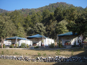 Photo: The tented accommodation at Corbett Hideaway Riverside Camp 2008