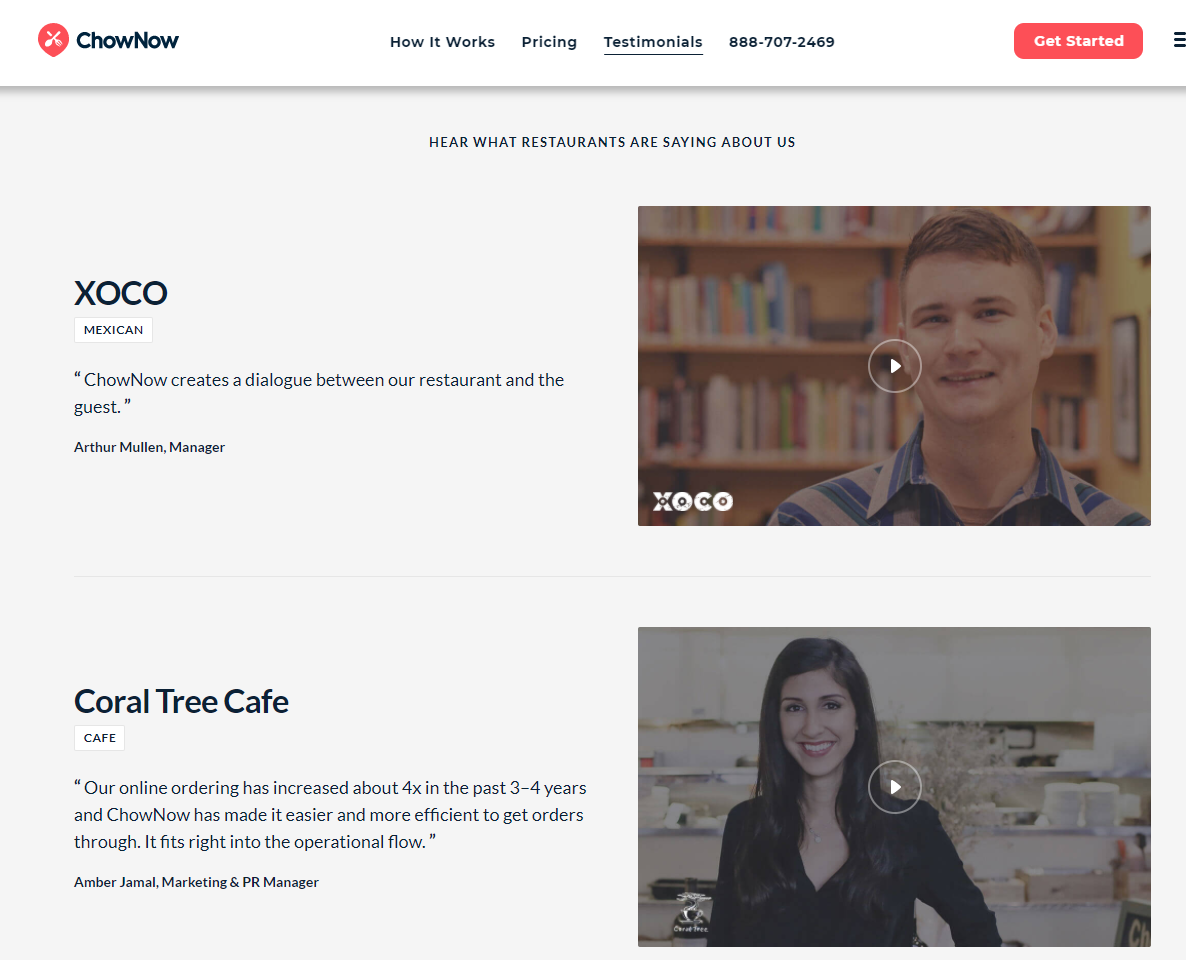 Screenshot of ChowNow's customer testimonials page with customers sharing why they love the brand