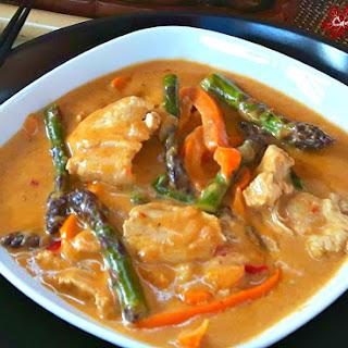 Red Thai Chicken Curry + Asparagus.