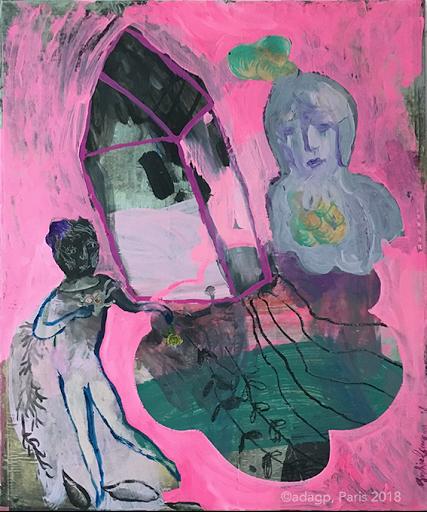 vapeurs-rose-souvenir-voyage-voisin-racine-sophie-lormeau-artiste-art-contemporain-figuratif-singulier-colorful-maison-flotte-aerien-jambe-enfance-reve-dream-memoire-ancestral-metamorphose-peinture-acrylique-collage-crayon-papier-magazine-adagp-2018