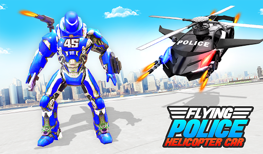 Flying Police Helicopter Car Transform Robot Games screenshots 11