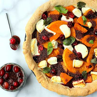 Butternut & Goats Cheese Tart with Beetroot & Raspberry Chia Jam