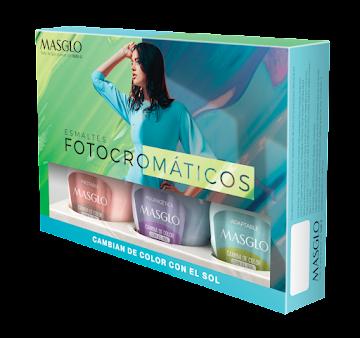 Kit Esmaltes Masglo   Fotocromaticos #1 Caja Verde x 3Uni