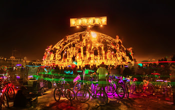 Photo: Midnight Fight at The Thunderdome  Every night in the desert is a new battle! The dome is descended upon for the big event as a thousand bikes surround the structure and people crawl across it like insects, trying to get a view.  (taken with a Phase One)