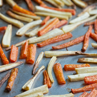 Roasted Carrots and Parsnips with Sesame Sauce.