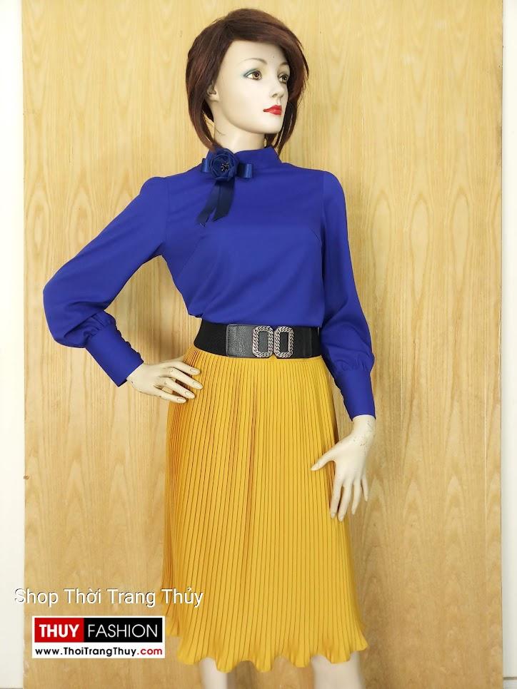 Áo sơ mi nữ cao cổ dài tay màu xanh coban V650 Hải Phòng