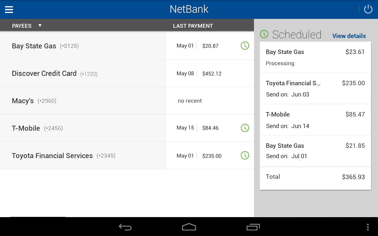 NetBank USA Mobile App- screenshot
