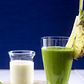 Pineapple, Banana, Spinach and Avocado Smoothie.