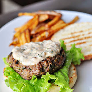 Spicy Poblano Burgers with Chipotle Cream.