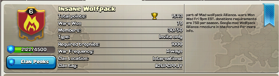 This clan will focus on the growth of lower level players and also be the  place for taking breaks, building or farming. The clan will war 3 times a  week but ...