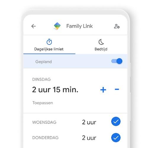 Een telefoon die laat zien hoe je dagelijkse tijdslimieten kunt instellen voor een apparaat met de Family Link-app
