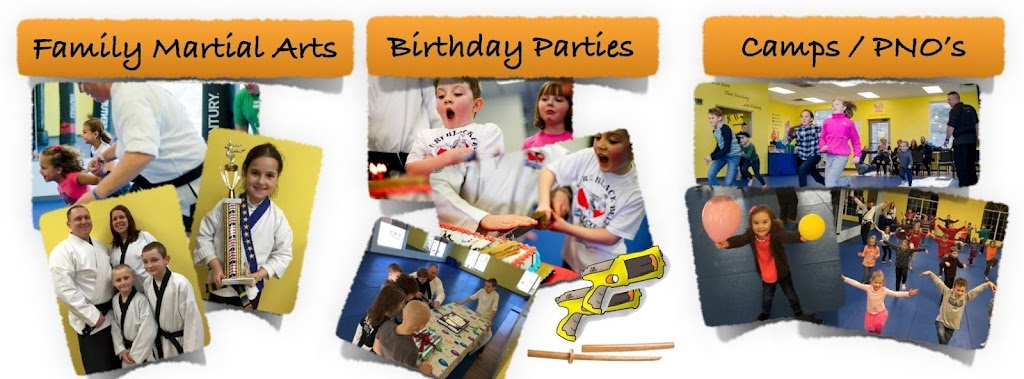 Facebook banner for martial arts and karate classes, also highlighting karate birthday parties and karate camps and events.