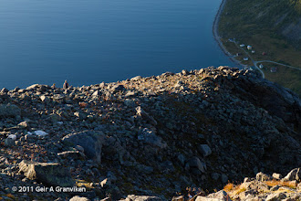 Photo: Descent from Skamtinden, with Rekvik, the starting point for the trip, still far below