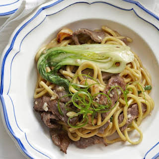 Stir Fried Beef with Cashews and Bok Choy.