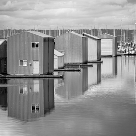 Everett Marina  by Todd Reynolds - Black & White Buildings & Architecture