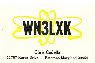"Photo: Almost everybody had a novice QSL from ""Little Print Shop"" back in the late 60s. They sent you samples immediately upon your license being issued. Some people even report to have received their samples before their license arrived in the mail from the FCC. Notice the two little holes on the left and right edge. They are from tacks I used to pin this up on the wall when I was a novice. This card is from early 1969.  I guess I was into the nuclear look (and I was able to pronounce the word correctly even at age 14. ;-)"