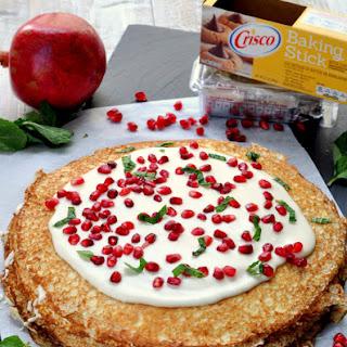 Pomegranate Vanilla Crepe Cake.