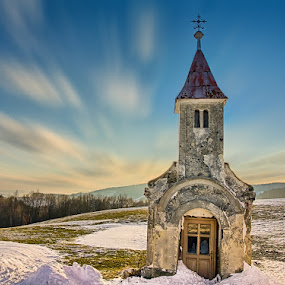 Chapel in the clouds by Peter Zajfrid - Buildings & Architecture Public & Historical ( clouds, šmartno, pohorje, long exposure, chapel )