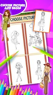 Módní dívka omalovánky k vytis - náhled