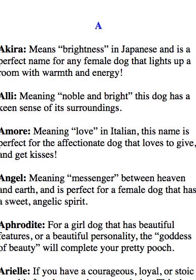 Play On Word Dog Names