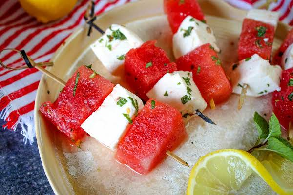 Skewers Of Watermelon Mozzarella Salad.