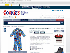 Photo: Once the shirt was in our cart, Little Crafter begged to look at the pajamas. He is crazy about wearing pj's right now...in fact, the past two days he's refused to wear anything but pajamas all day long. Naturally, as soon as he spied a pair of Angry Birds pajamas, that was the end of his search, especially since they also happened to be his favorite color, blue.