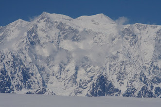 Photo: Mount Logan main summit (left) and East Summit (right)
