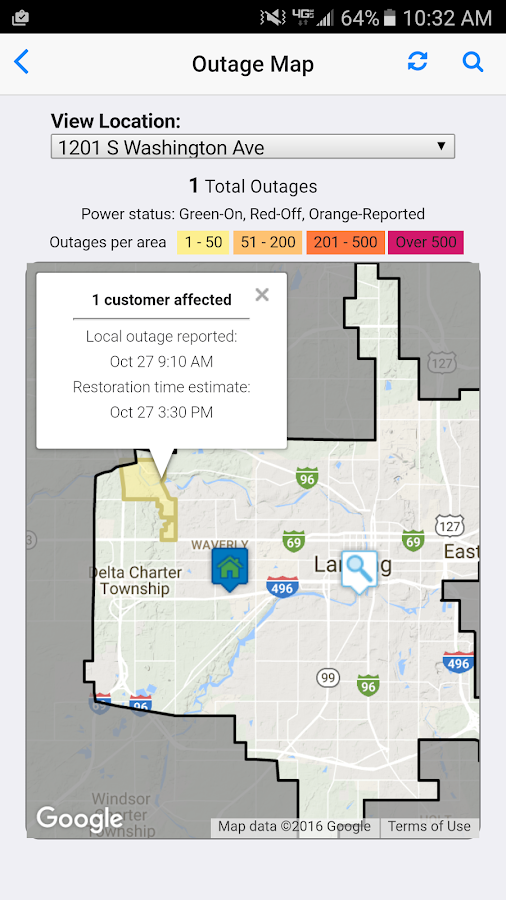Lansing BWL Outage Center- screenshot