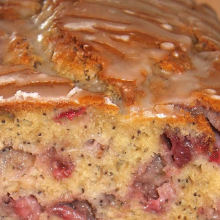Lemon-glazed Strawberry Poppy Seed Bread.