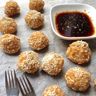 Baked Tofu & Brown Rice Balls.