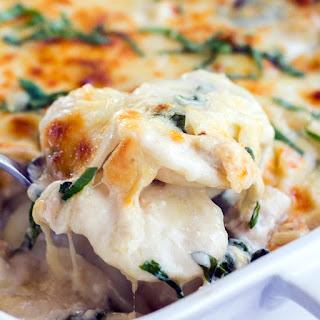 Spinach & Chicken Alfredo Ravioli Bake.