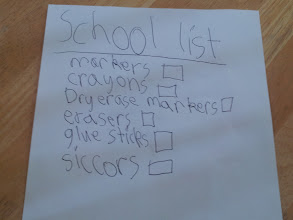Photo: He loved the idea, and the first thing he did was make a list of the items that Mrs. J used the most - especially those that were running out at the end of the year. And this organization? It's all him. I had nothing to do with the idea to make a list nor formatting it. He is *so* my child!