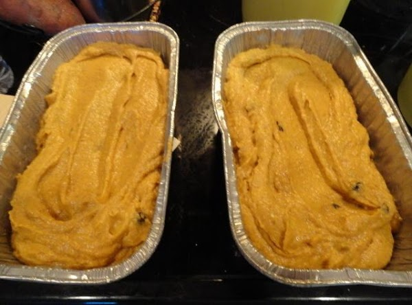 Pour equally into two loaf pans. Make center lower than edges.