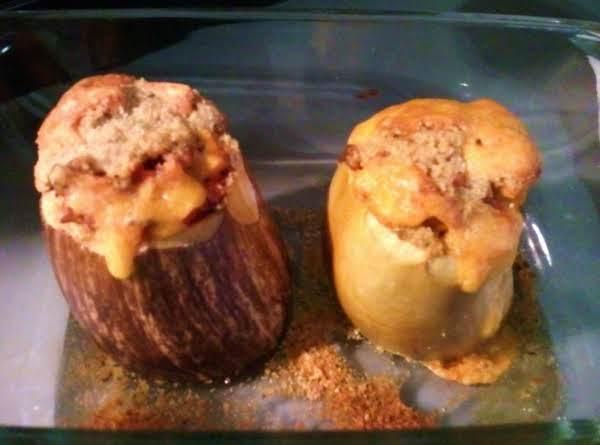 Chile Spiced Mango Stuffed Eggplant