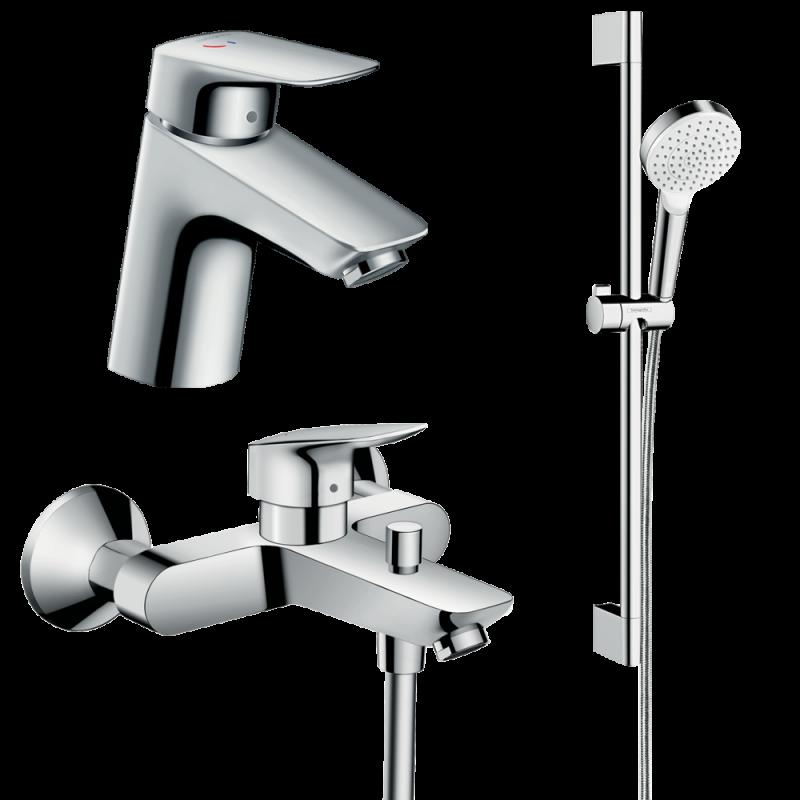 фото - Набор смесителей для ванной 3 в 1 hansgrohe Logis 70002020 (71072000, 71400000, 26535400)